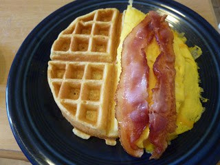 Egg and Cheese on Waffle with Bacon