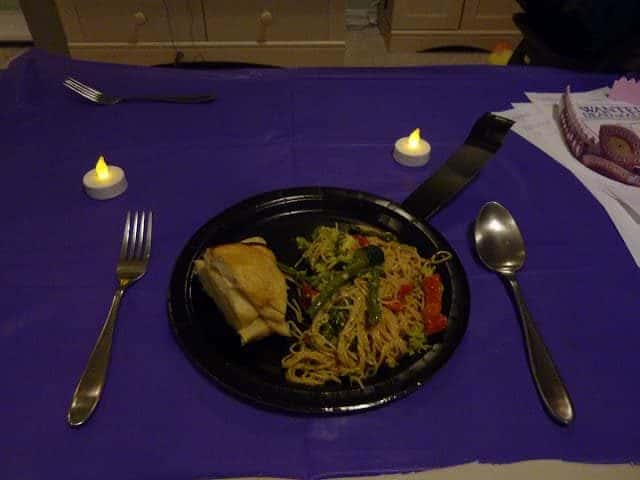 tangled movie night meal on frying pan plate