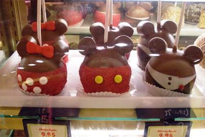 Candy Apples made to look like Disney characters in Walt Disney World