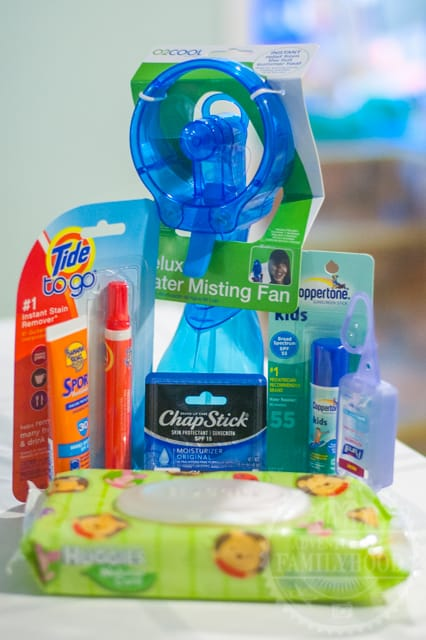 Comfort items to bring to Disney Parks - Water Bottle, Fan, Wipes, Lip Balm, and sunscreen