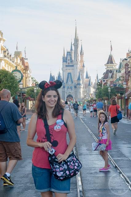 Lisa sports her park bag on Main Street USA