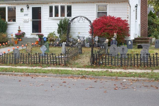 View of my Halloween Graveyard display from across the street.
