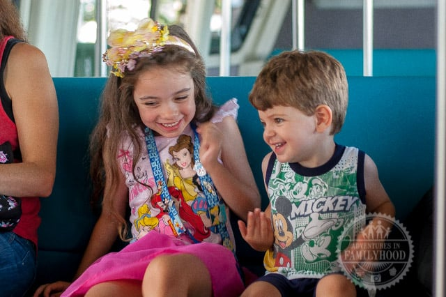 Bella and Jackson enjoying a ride on the Walt Disney World Monorail