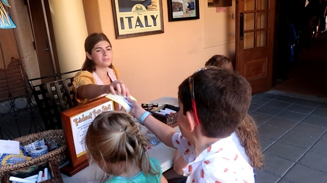 Epcot Kidcot Fun Stop in Italy