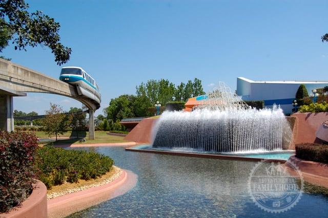 Walt Disney World Monorail blue Epcot Fountain