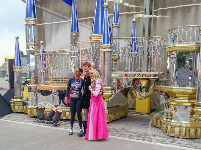 Aurora and Prince Philip Photo Op backstage Magic Kingdom during 2014 Walt Disney World Half Marathon