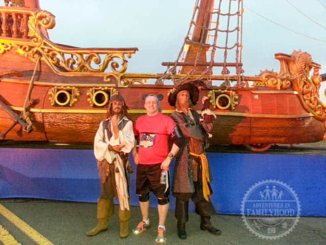 Jack Sparrow and Barbosa Pirate Ship Photo Op during Walt Disney World Half Marathon