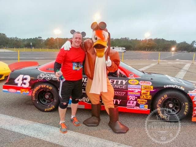 Launchpad McQuack Photo Op with Richard Petty Racing Experience Racecar at 2014 Walt Disney World Half Marathon