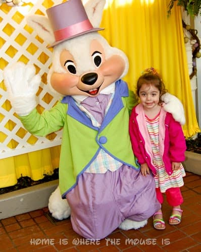 Bella meets Mr. Bunny at Disney's Magic Kingdom in 2010