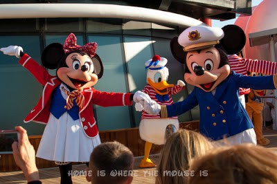 Mickey and Minnie dancing at the Sail Away party on the Disney Magic