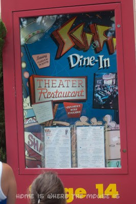 Menu Posted outside Sci-Fi Dine-In Theater