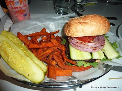 Vegetarian Burger at the Sci-Fi Dine-In Theater