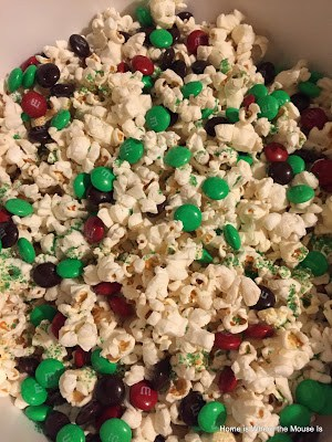 elf popcorn with m&ms and sprinkles