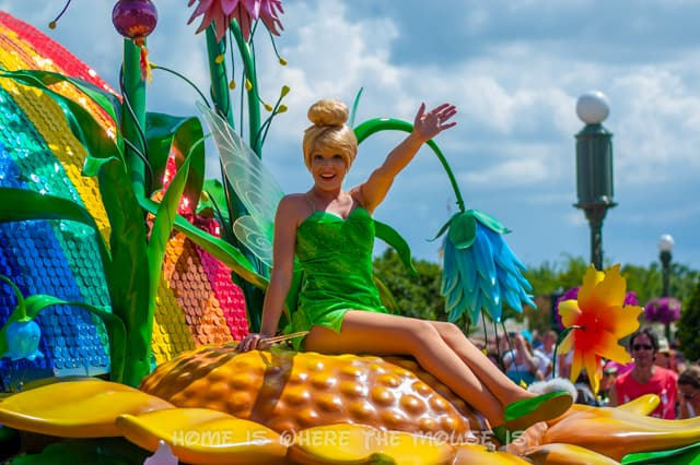 Tinker Bell atop her float in Disney's Festival of Fantasy Parade