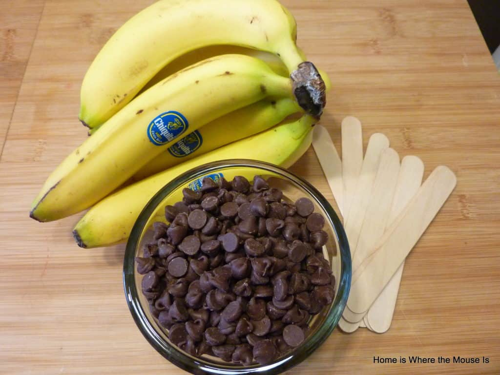 ingrredients for making chocolate covered bananas