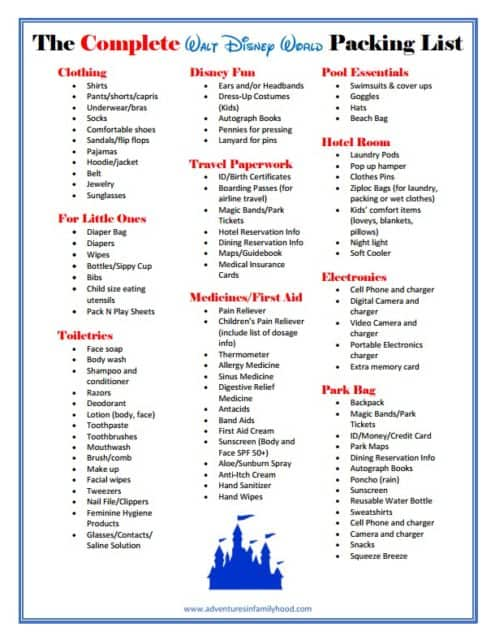 The Complete Walt Disney World Packing List Printable