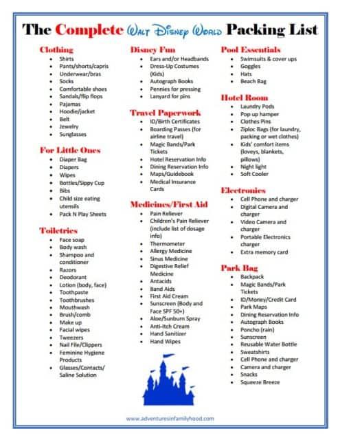 The Complete Walt Disney World Packing List Printable
