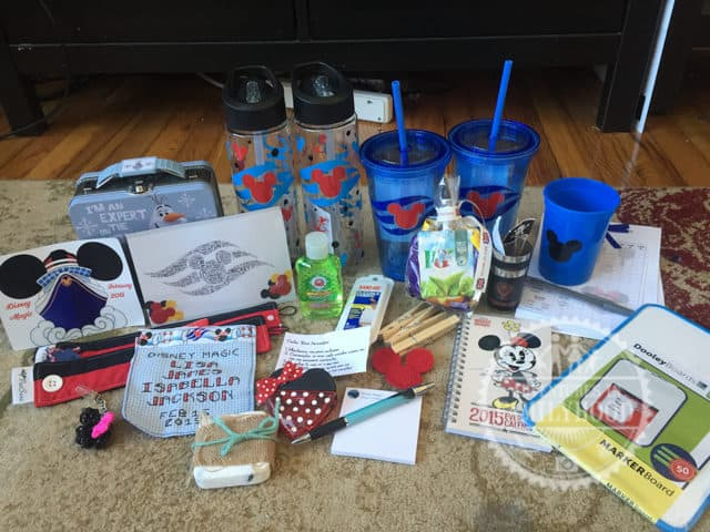 Assortment of gifts that were distributed in Fish Extenders on our Disney Cruise