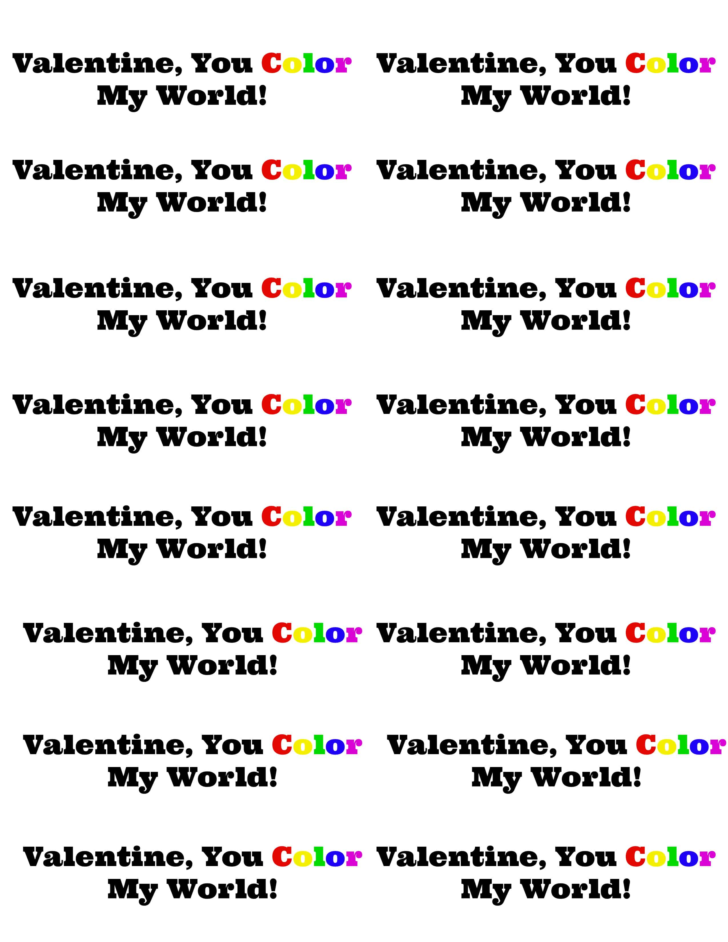 image about You Color My World Printable known as Tremendous Straightforward Non-Sweet Greenback Shop Valentines with Printables