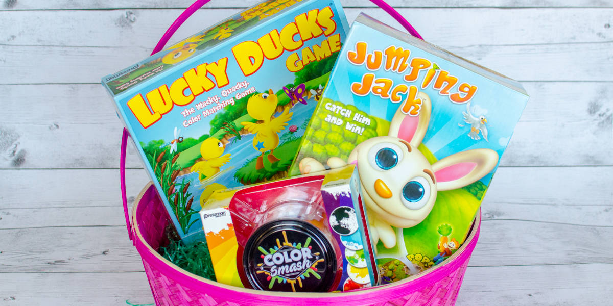 Easter Basket full of Goliath Pressman Games