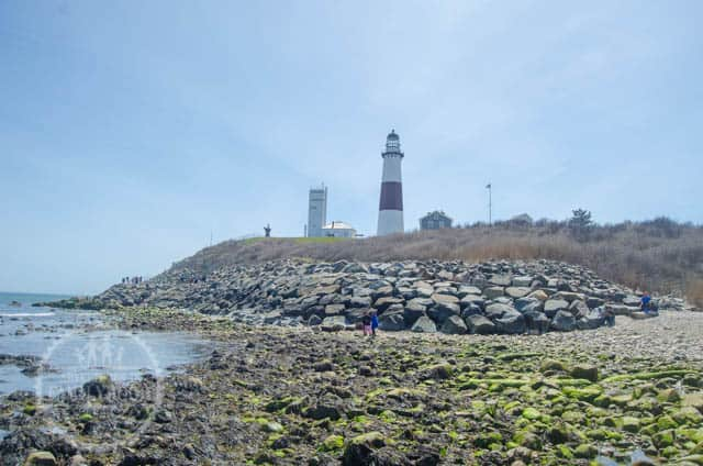 View of Montauk Point Lighthouse from the shore