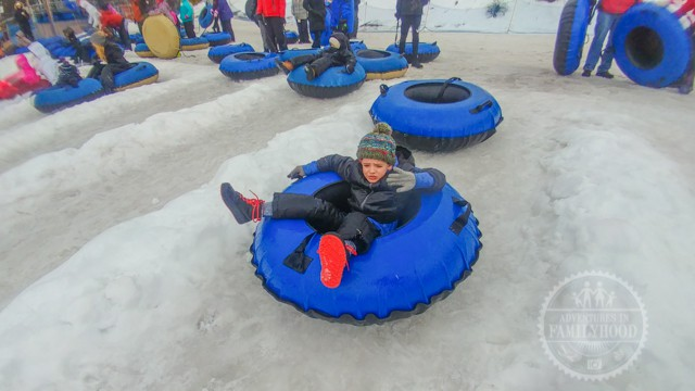 Jackson waiting to snowtube at Camelback Resort
