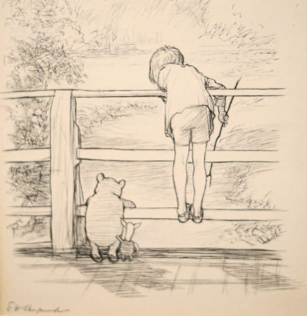 pooh hundred acre wood bridge drawing
