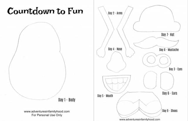 image about Mr Potato Head Printable Parts named Mr. Potato Mind Disney Holiday vacation Countdown Toy Tale Land