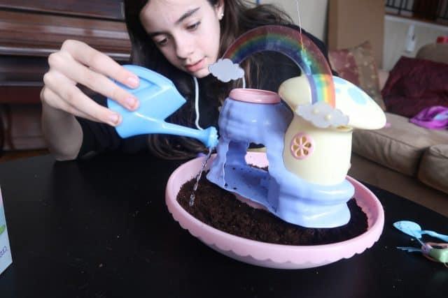 Bella watering her My Fairy Garden