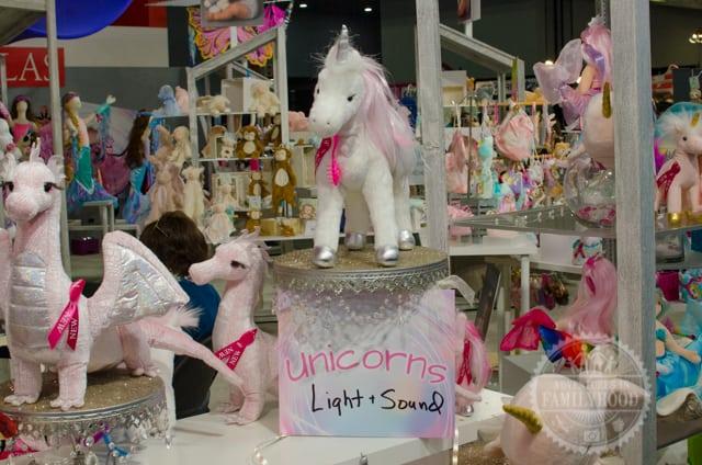 Unicorns on display at Toy Fair