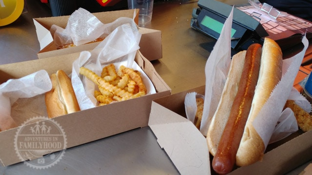 Ballpark hot dogs and fries