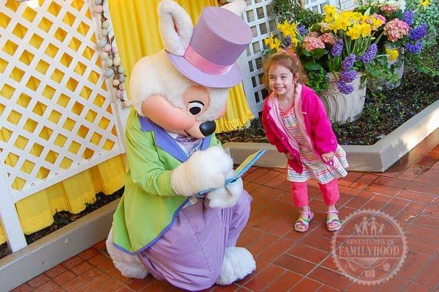 Bella meeting Easter Bunny at Disney World