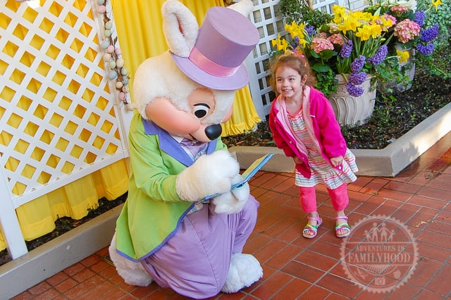 Bella meeting Easter Bunny at Disney World