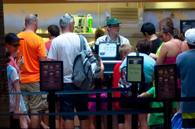 Guests on line at Walt Disney World Quick Service Restaurant