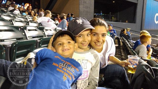 Lisa and the kids enjoying the baseball game at Citi Field