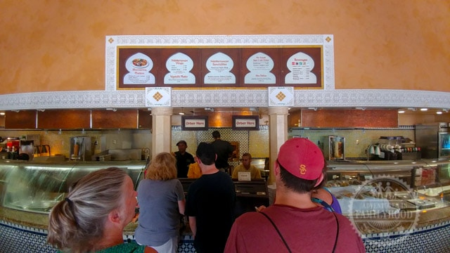 People on line at Tangerine Cafe Counter Service Restaurant in Epcot