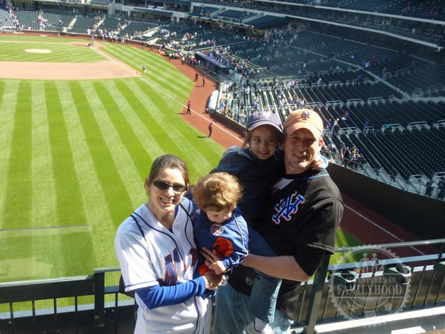 family photo at Citi Field after the Mets baseball game