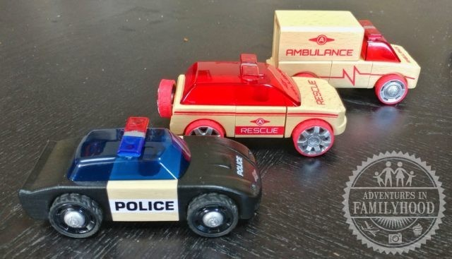 automoblox mini series rescue vehicles include police car, fire chief, and ambulance