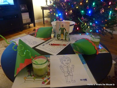 elf holiday movie night activity table
