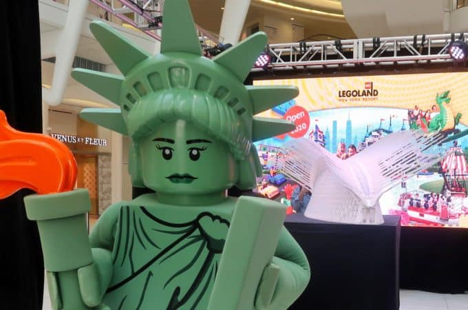 Lady Liberty Minifigure on hand to help announce LEGOLAND New York's First to Play Pass