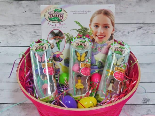 My Fairy Garden set along with three scented fairies in an Easter basket