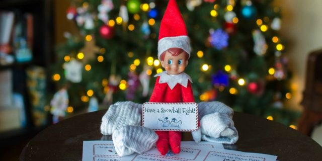 elf on the shelf by the tree