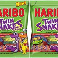 Haribo Twin Snakes Sweet and Sour Gummi Candy - NEW 2016 - 5 oz Bag (Pack of 2)