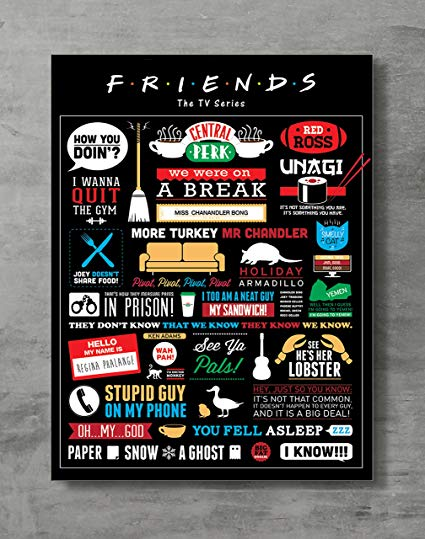 "Friends Poster- Friends TV Show Canvas Print Friends Merch Wall Art Posters Print Standard Size 18""x24"" Inches"