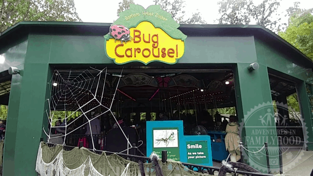 The Bug Carousel exterior at the Bronx Zoo decorated for Halloween