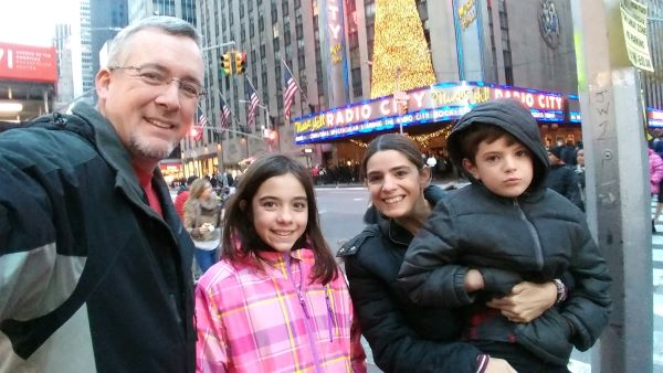 family outside Radio City Music Hall