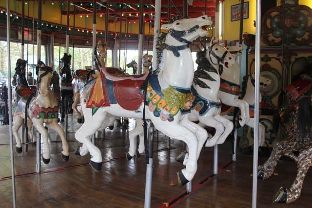 Horses on the flushing meadows carousel can tilt outwards due to the slots in the floor