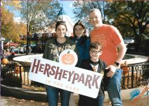 Our Family photo at the fountain for Hersheypark in the Dark Halloween event