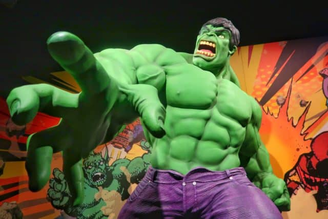 life-size incredible hulk at Marvel Universe of Super Hero exhibit