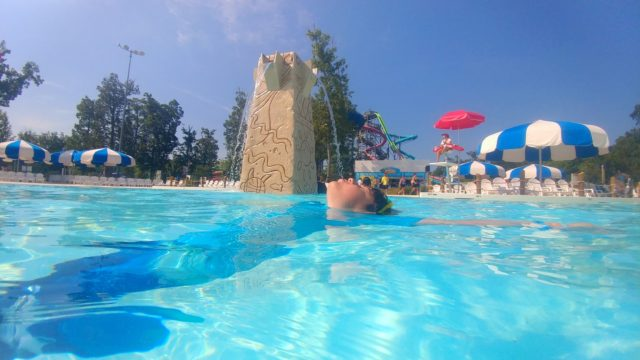 jackson floats in the new Calypso Springs pool at Hurricane Harbor